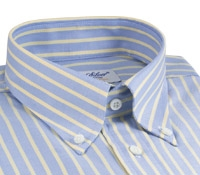 Blue Oxford Button Down with Yellow Stripe