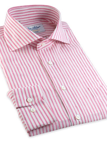 Pink Candy Stripe Cutaway Collar in Linen