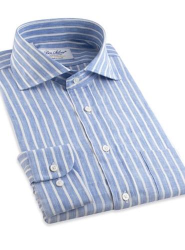 Cobalt and White Bengal Stripe Cutaway Collar in Linen
