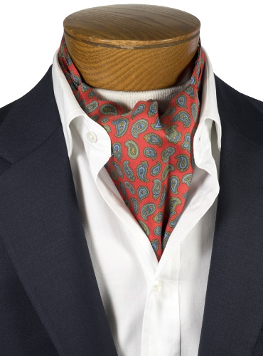 Silk Printed Paisley Ascot in Red