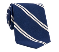 Mogador Silk Double Bar Stripe Tie in Navy