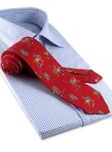 Silk Print Polo Player Motif Tie in Red