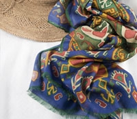 Cotton and Cashmere Blend Ikat Scarf in Periwinkle