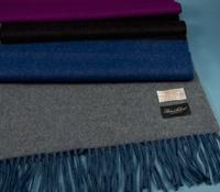 Wool and Alpaca Block Stripe Scarf in Fuchsia and Blue