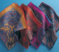 Wool Printed Paisley Pocket Square