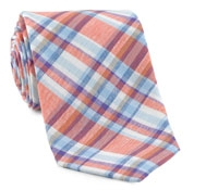 Orange Woven Plaid Linen/ Cotton Tie