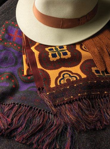 Silk and Wool Reversible Print Scarves