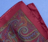 Silk Paisley Pocket Square in Claret