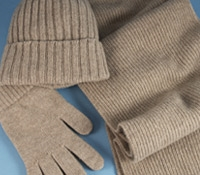 Cashmere Ribbed Scarf, Cap and Gloves in Dark Natural