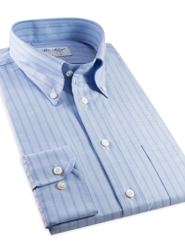 Blue Oxford Button Down with Blue Stripe