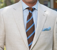 Tan and Ivory Glen Plaid Linen Jacket