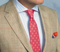 Beige and Nut Birdseye Sport Coat with Windowpane