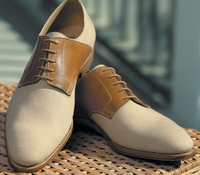 The Bosham Saddle Shoe in Beige Canvas