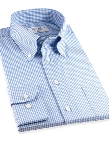 Blue & White Small Grid Check Button Down