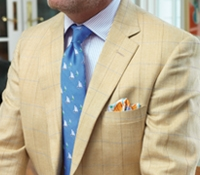 Gold Sport Coat with Sky and Mustard Windowpane