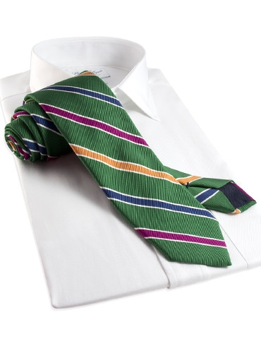 Silk and Cotton Stripe Tie in Celtic
