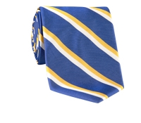 Woven Double Stripe Tie in French Blue