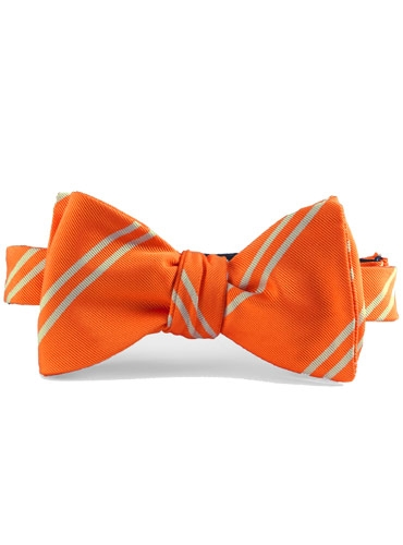Mogador Silk Double Bar Stripe Bow in Nasturtium