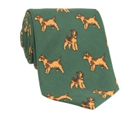 Silk Print Dog Motif Tie in Forest