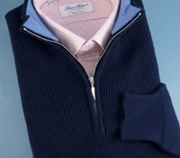 Cashmere Half Zip Sweater in British Blue