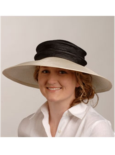 Black Top with Natural Brim Hat