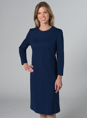Shift dress with back bow detail in Navy