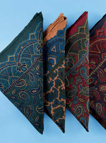 Wool and Silk Paisley Print Pocket Squares