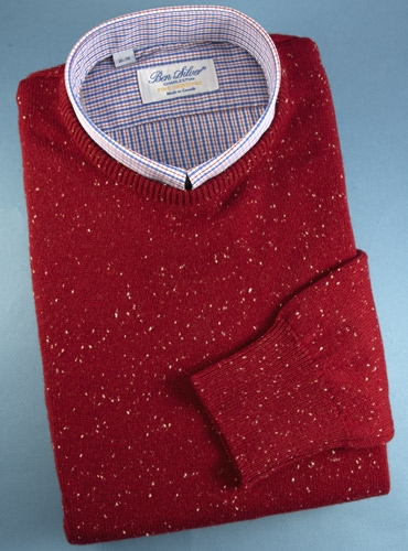 Lambswool Donegal Sweater in Cranberry