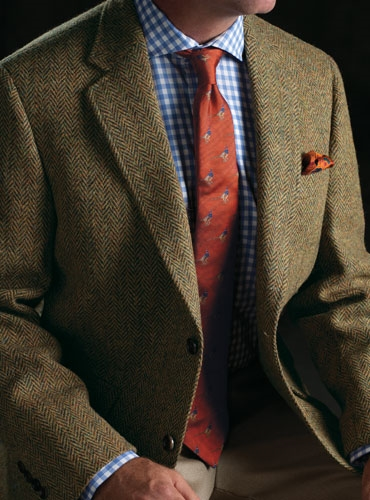 e9dbcd3cef4a Oak and Bottle Green Herringbone Harris Tweed Sport Coat