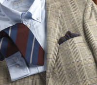 Jacket Silk/Linen Cream/Blue Glen Plaid W/Purple
