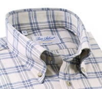 Cream Brushed Cotton Button Down with Storm Blue Plaid