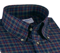 Navy and Red Tartan Button Down