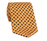 Silk Printed Tie With Flower and Diamond Motif in Yellow