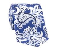 Silk Printed Paisley Tie in Royal