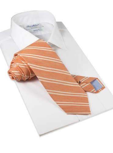 Linen and Cotton Double Stripe Tie in Tangerine