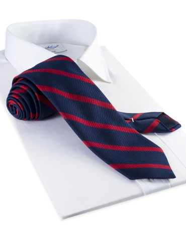 Mogador Bar Stripe Tie in Navy and Ruby