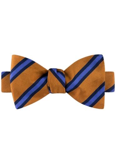 Mogador Silk Stripe Bow Tie in Copper and Cornflower