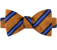 Mogador Silk Stripe Bow Tie in Copper and Cornflower