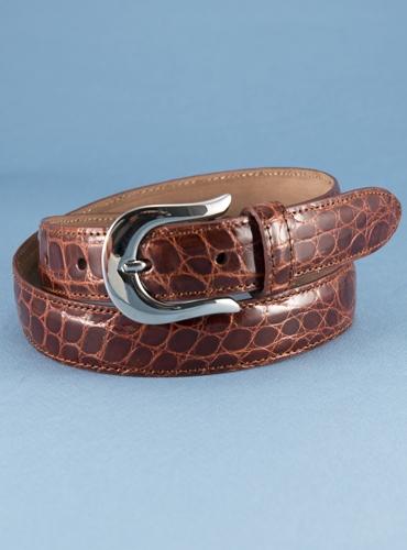 Ladies Alligator Belt in Caramel, Size 27