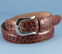 Ladies Alligator Belt in Caramel, Size 27