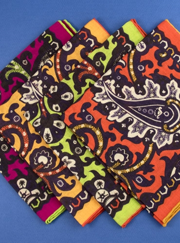 Wool and Silk Large Floral Paisley Pocket Square