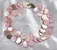 Single Strand Pink Mother of Pearl and Silver Petal Necklace