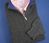 Cashmere Half Zip Sweater in Derby