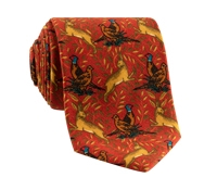 Woodland Printed Tie in Cranberry
