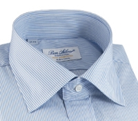 Blue and White Hairline Stripe Spread Collar