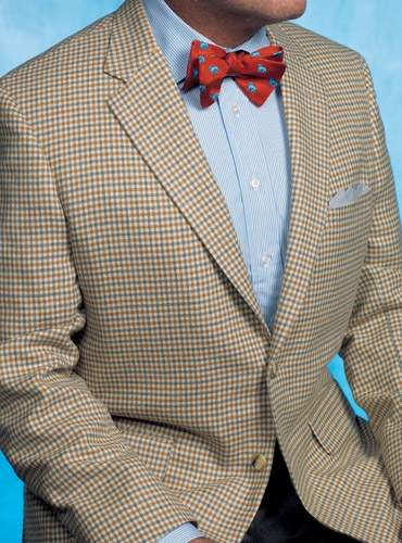 Classic District Check Sport Coat in Grey-ish Blue and Ochre