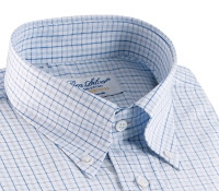 White Button Down with Blue and Navy Check