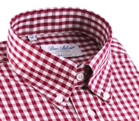 Red Gingham Check Button Down