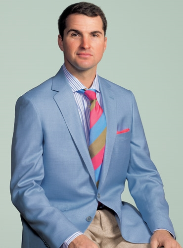 Sky Blue Wool and Silk Sport Coat