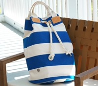 Canvas Striped Bucket Bag in Royal Blue